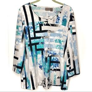 Chico's 3/4 Sleeve Abstract Top, Size M/Size 1